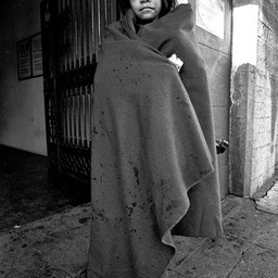 Blanket for comfort, Skid Row, Los Angeles 1980s