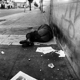 Dennis, victim of patient dumping, Skid Row, Los Angeles 1980s