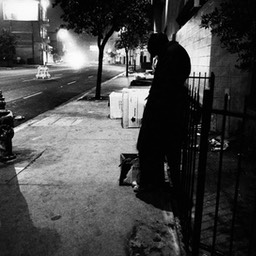 Evening in Skid Row, Los Angeles 1980s