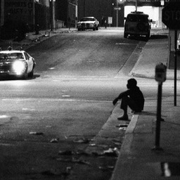 Police scope the Homeless, Skid Row, Los Angeles 1980s